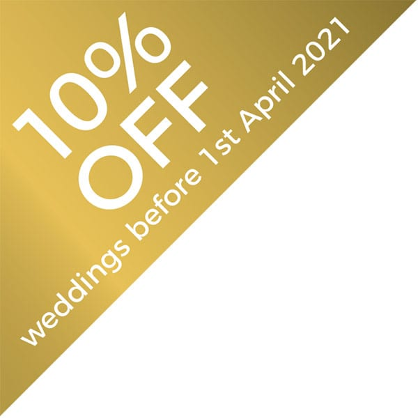 10%off weddings before 1st April 2021
